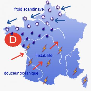 10/03/2013 - neige prévue dans le Nord-ouest de la France pour lundi